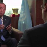 لقاء الأمين العام للأمم المتحدة بان كي مون على قناة الجزيرة 25ـ9ـ2015م