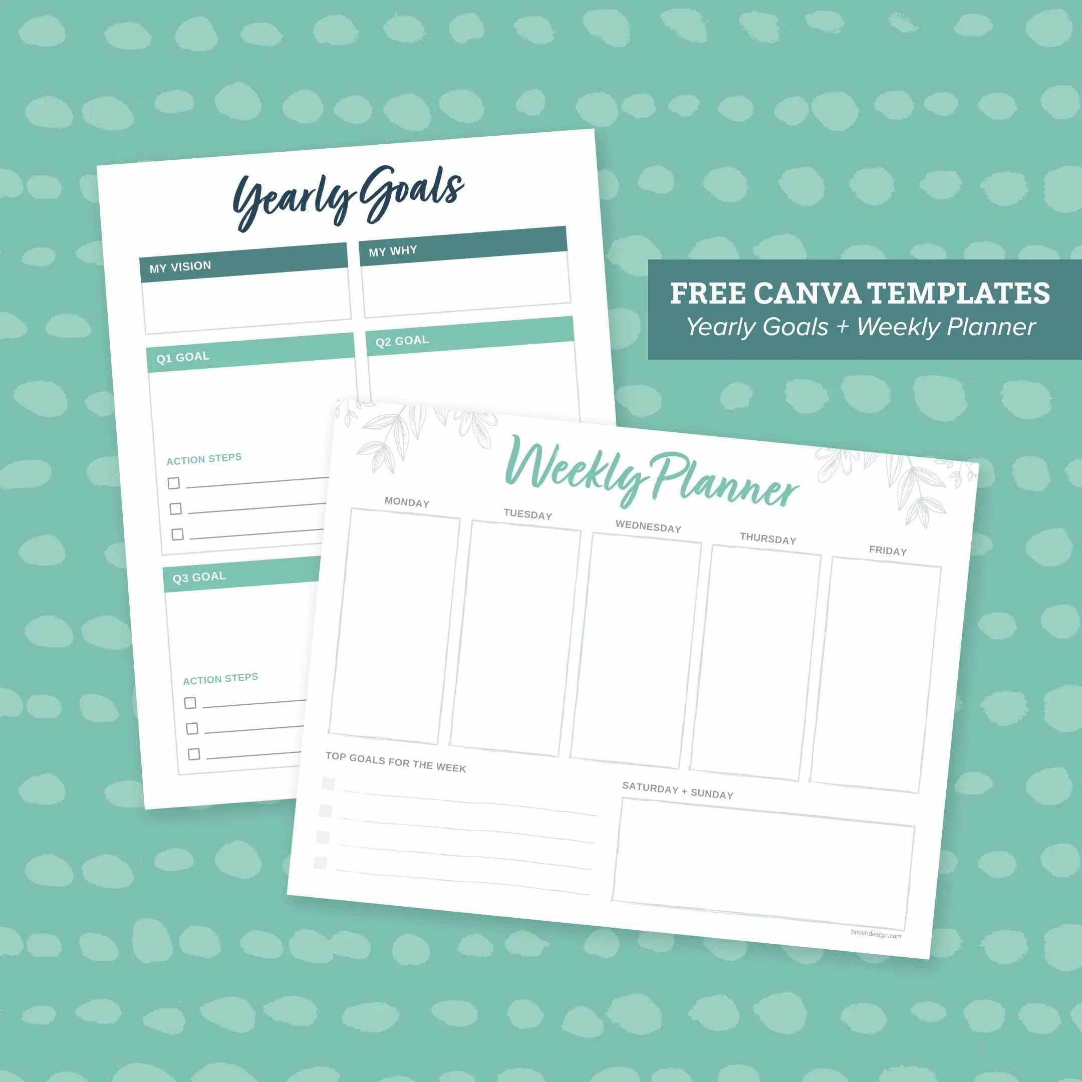 Yearly Goals Amp Weekly Planner Printables