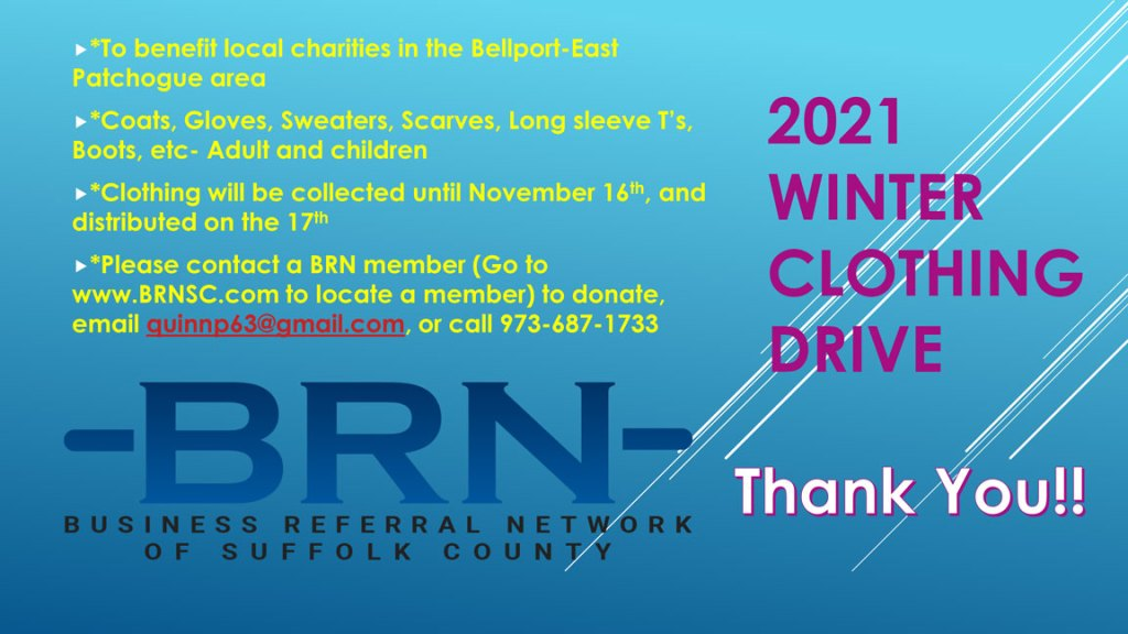 Please Support the BRN 2021 Winter Clothing Drive