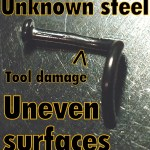 Nostril screw with uneven surfaces and tool damage