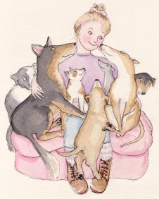Armful of Dogs. Watercolour and ink