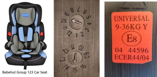 Car seat and identifying marks