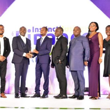 Ibrahim Osmanu, Manager, Financial Services & Site Support receiving Corporate Performance Team of the Year Award on behalf of MTN Ghana