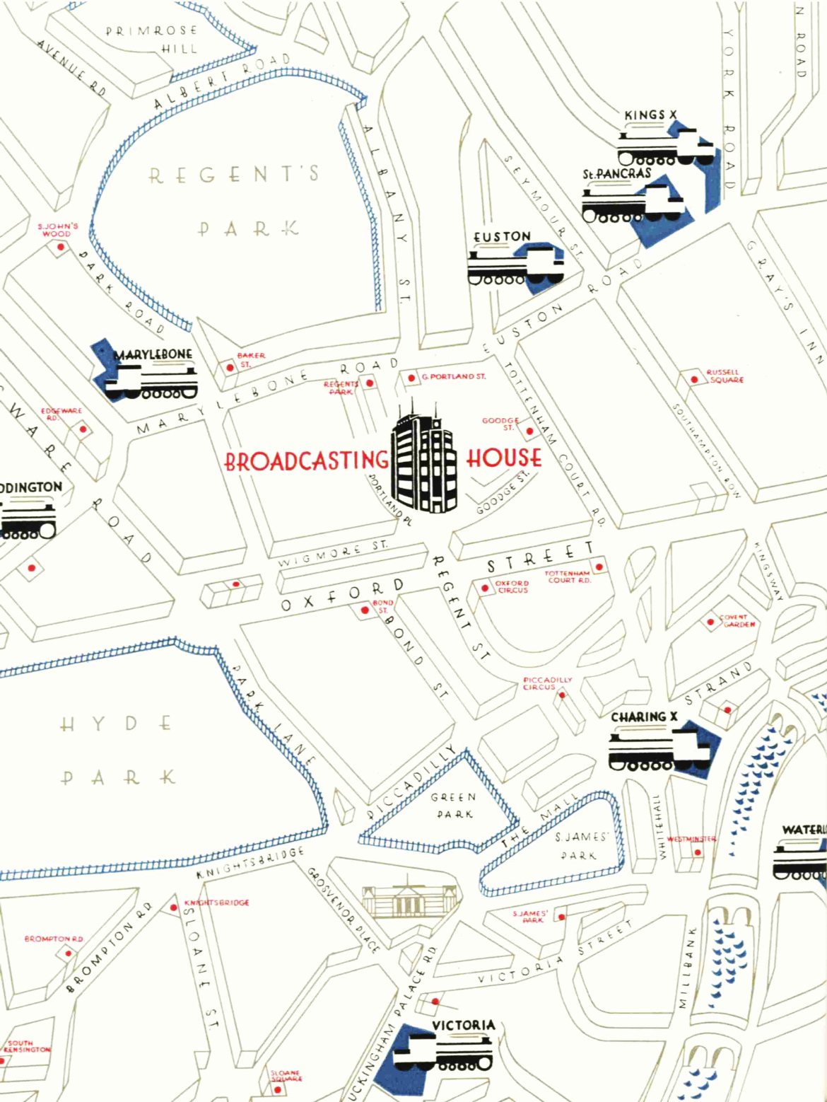 A map of the area of central London surrounding the new Broadcasting House building