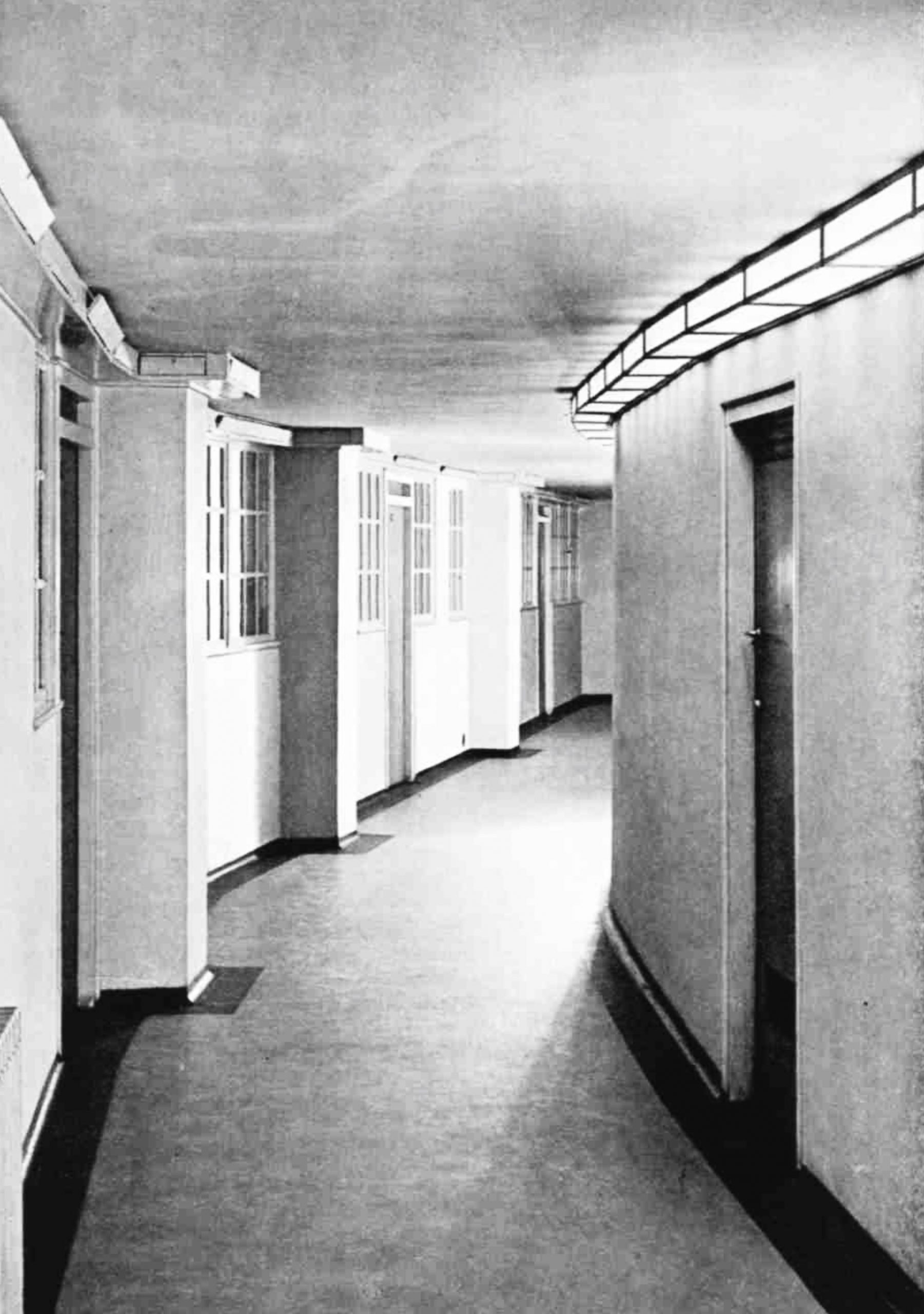 A corridor, curving to the right