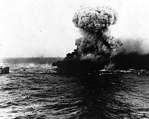 USS LEXINGTON on fire