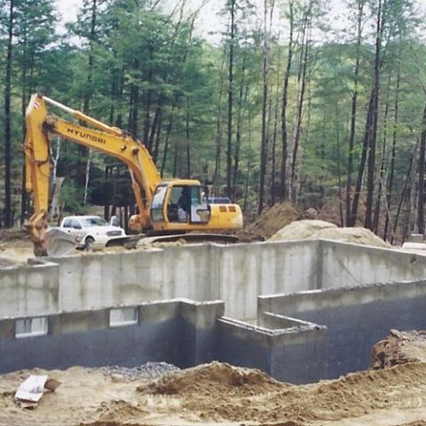 Excavation around the foundation.