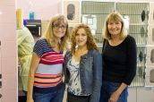 Bernadette Peters, Marilyn Faris, and Tracy Kline in the Cat Castle, the cat adoption area. The ACC takes in dozens of litters of feral kittens each season. Because of their young age, these kittens can be socialized and made available for adoption. Photo Credit: Matt Liptak