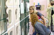 Bernadette Peters and Tracy Kline look in on a feline resident of the ACC. Photo Credit: Matt Liptak