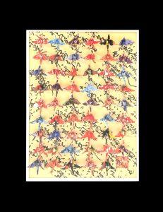 """Hiromi Ashlin, """"Kimono #3"""", Origami on Panel, 14"""" x 10"""""""