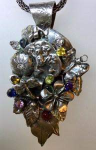 "Sue Broadway, Custom Silver Clay Leaf Pendant with semiprecious stones, 2"" long"
