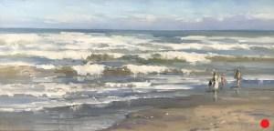 Christine Lashley Beach Stroll 12x24 Oil on Canvas