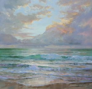 """Caribbean Sunrise II"", 24"" x 24"", Oil on Canvas"