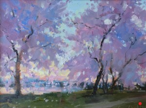 Christine Lashley Cherry Trees at Dawn 9x12 OP 900.1000