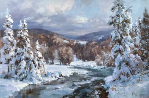 Christine Lashley First Snowfall 20x30 Oil on Canvas