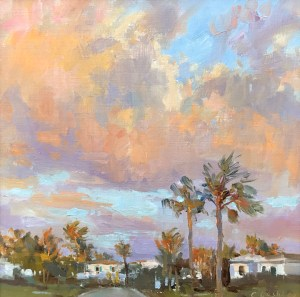 Christine Lashley Salmon Sky Tequesta 12x12 Oil on Canvas