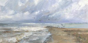"""Silver Shores"", 8"" x 16"", Oil on Canvas"
