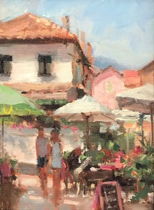 Christine Lashley - Southern Cafe, 8x6, Oil on Panel