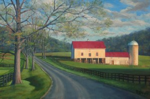 "Bradley Stevens, ""April Road"", 24X26"", oil on linen, $4,800"