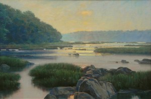 "Bradley Stevens, Turkey Run Evening, 24"" x 36"", oil on linen"