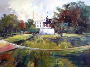 Ken Strong, White House LaFayette Park, 48X36, Oil on canvas