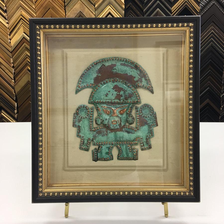 Custom Framing of Hammered Copper Aztec Souvenir
