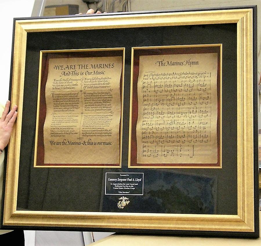 Custom Framing of US Marines Hymn