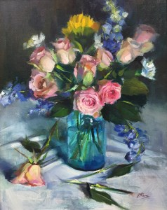 Vicki Blum Pink Roses in Mason Jar 20x16 Oil on canvas