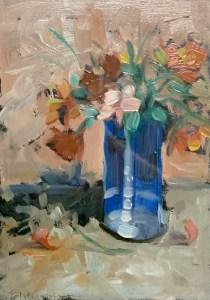 "Buck Nelligan, ""Blue Vase"", 8"" x 6"", Acrylic on Paper"
