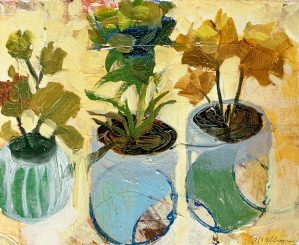 """Buck Nelligan, """"Potted Trio"""", 6"""" x 7"""", Acrylic on Paper"""