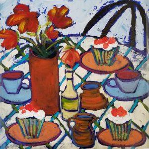 "Buck Nelligan, ""Tea and Cupcakes"", Acrylic on Canvas, 24"" x 24"""
