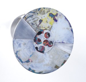 """""""Portal #12"""", Acrylic and Wax on Etched 1/8""""Aluminum, 7"""" Diameter"""