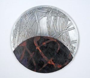 """""""Portal #6"""", Acrylic and Wax on Etched 1/8""""Aluminum, 7"""" Diameter"""
