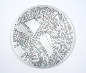 """""""Portal #8"""", Acrylic and Wax on Etched 1/8""""Aluminum, 7"""" Diameter"""