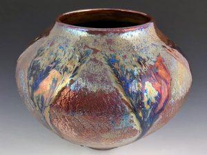 "Raku and Glass Vase, 8""h x 11""w, Tag #2"