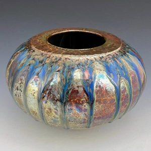 "Raku and Glass Vase, 8""h x 6""w, Tag #1"