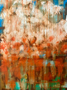 """""""Red Reflection"""", 40""""h x 30""""w, Mixed Media on Canvas"""
