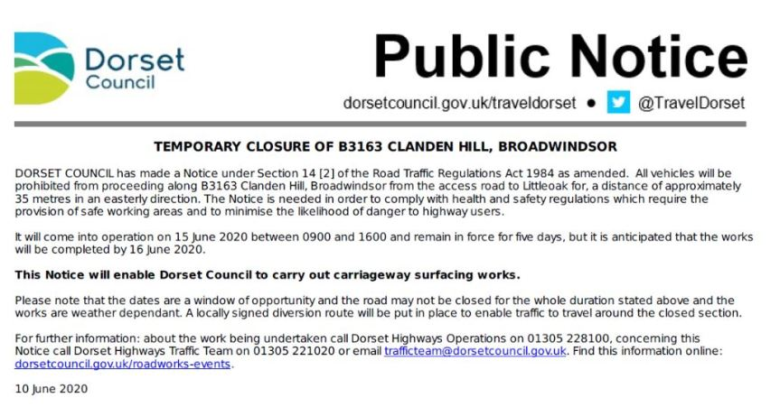 Clan Hill Road Closure