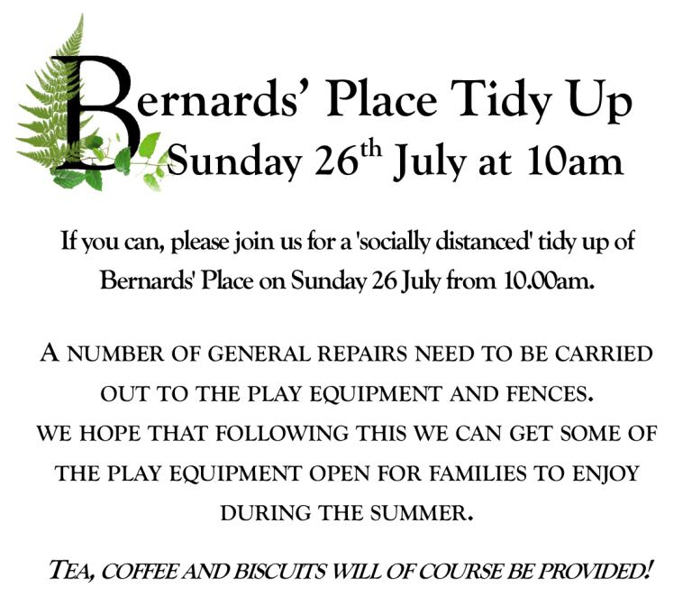 Bernards' Place Tidy up