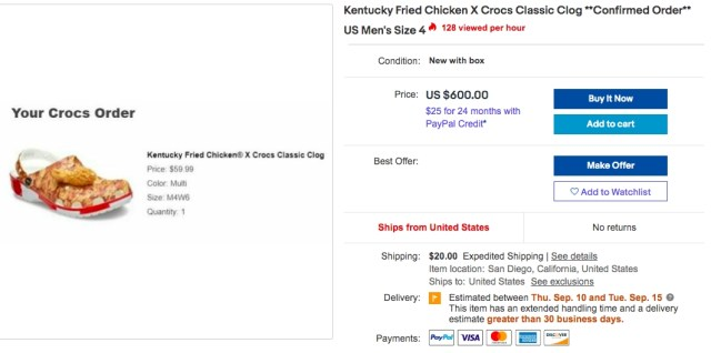 kfc crocs sold out ebay prices