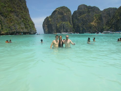 The three of us in the water at Maya Beach