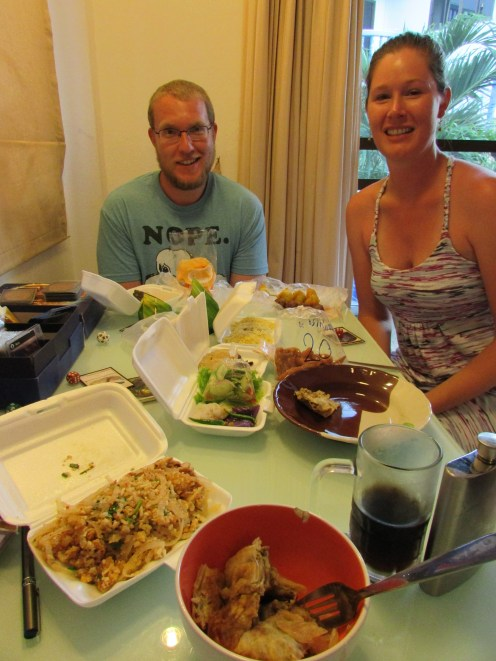 We got a feast from a local market and brought it home - with whiskey cokes, of course