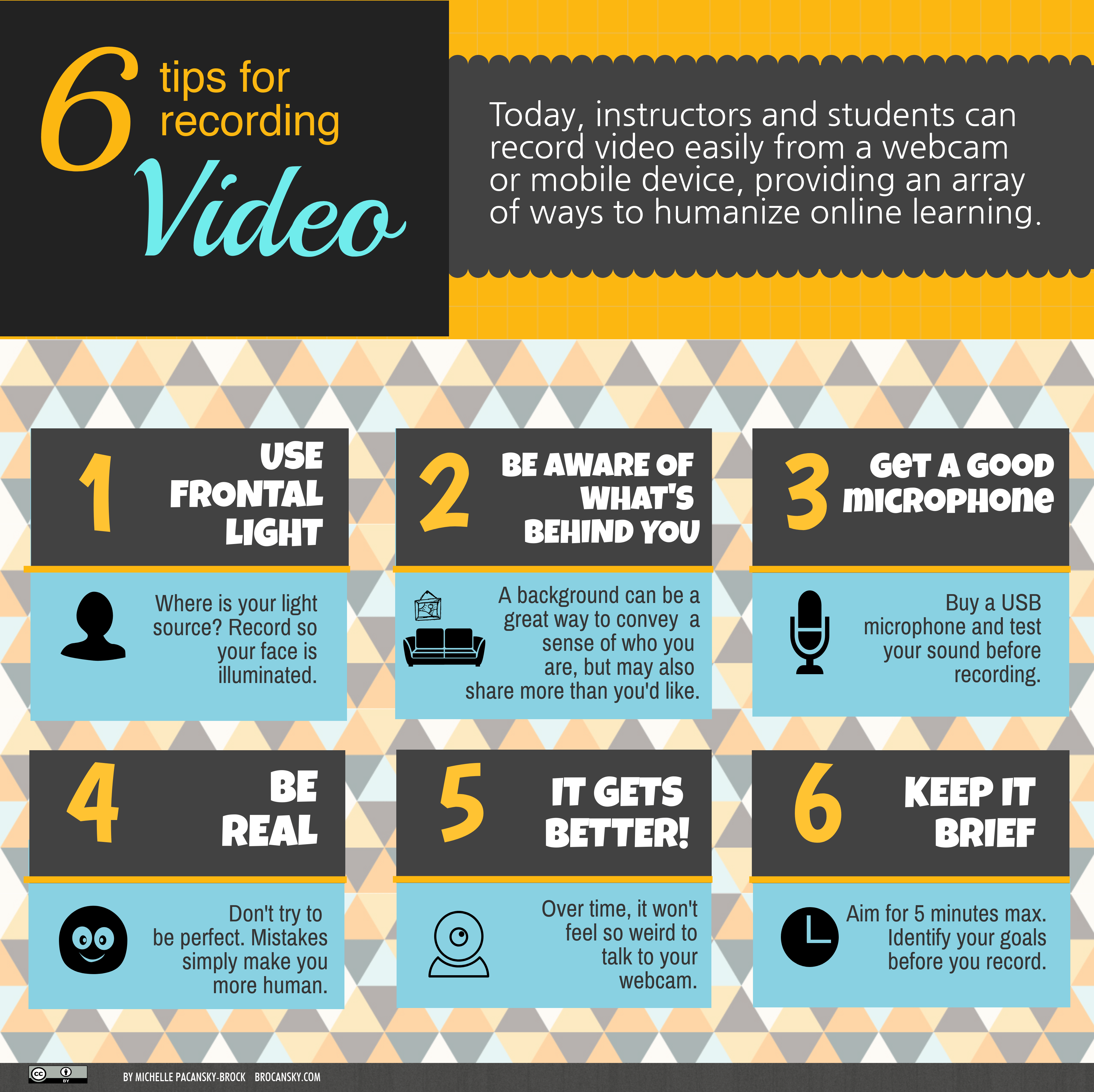 6 Tips for Recording Video. Today, instructors and students can record video easily from a webcam or mobile device, providing an array of ways to humanize online learning. 1. Use Frontal Light. Where is your light sourc e? Record so your face is illuminated.  2. Be Aware of What's Behind You.  A background can be a great way to convey a sense of who you are, but may also share more than you'd like. 3. Get a Good Microphone. Buy a USB microphone and test your sound before recording. 4. Be Real. Don't try to be perfect. Mistakes simply make you more human. 5. It Gets Better! Over time, it won't feel so weird to talk to your webcam.  6. Keep It Brief. Aim for 5 minutes max. Identify your goals before you record.