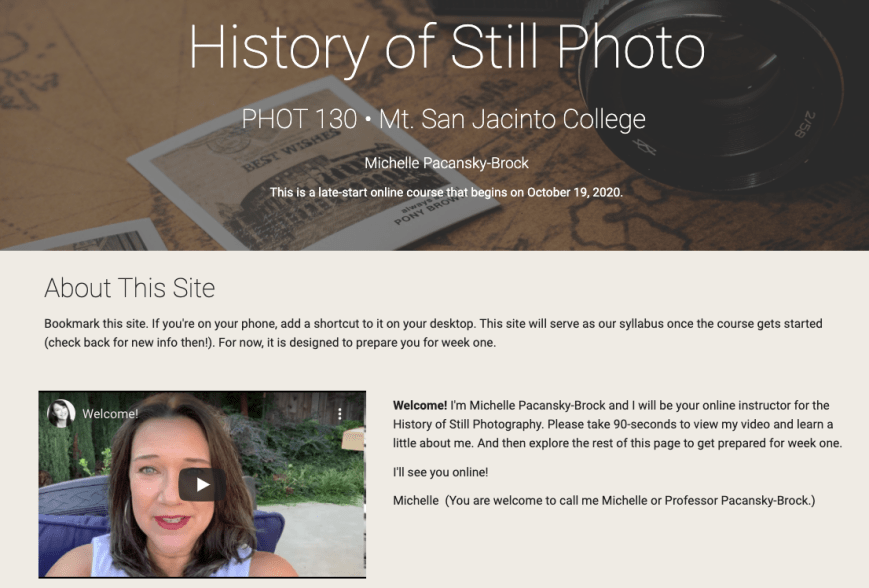 A website titled History of Still Photography with a video of an instructor embedded at the top.