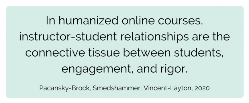 In humanized online courses, instructor-student relationships are the connective tissue between students, engagement, and rigor.  Pacansky-Brock, Smedshammer, Vincent-Layton, 2020