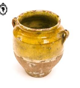 1 Pot à graisse en grès terre cuite toupine émaillé jaune à moitié ancien vintage