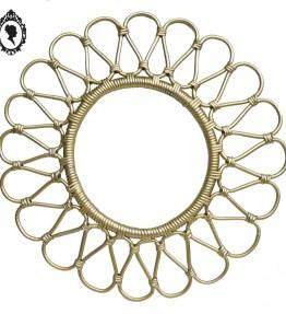1 Cadre rond en rotin vide forme fleur pétale vintage doré