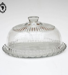 1 Grande cloche à fromage transparente en verre blanc avec son assiette plateau vintage