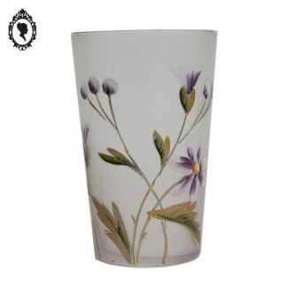 Très joli verre de collection violet parme décor fleuri émaillé ancien ⋆ Brocante Chic