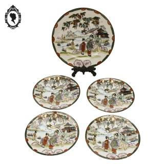 Plat, plat creux, plat japonais, porcelaine japon, Rokuzo, plat 1920 1940, assiette japonaise, Art d'Asie, porcelaine ancienne, porcelaine ancienne japonaise,